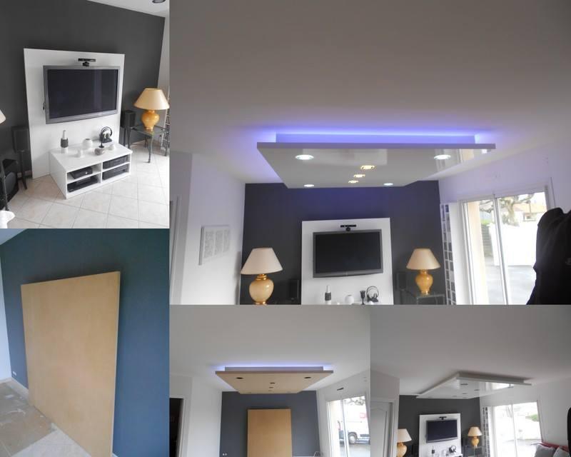 Aménagement de salon : faux plafond + support télé